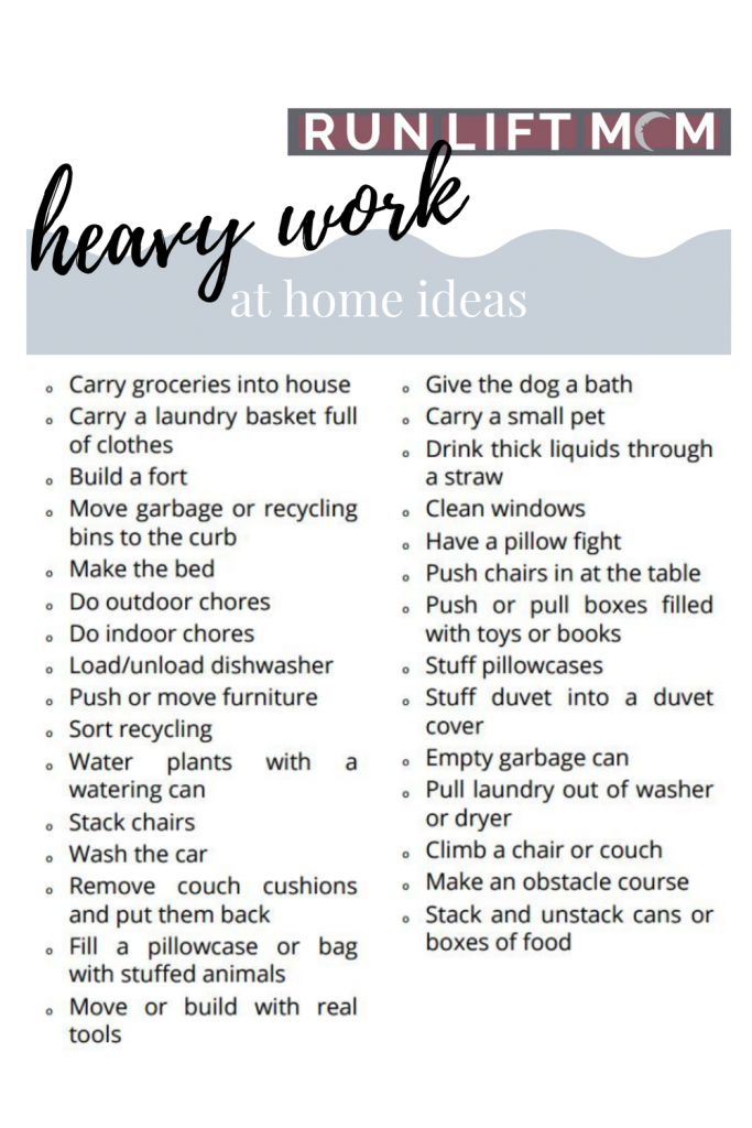 List of heavy work ideas for parents with sensory development concerns